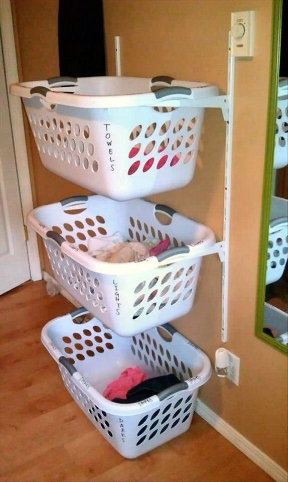 Laundry room baskets labeled and hung on the wall with brackets instead of hampers. Easy to separate out colors and even your kids can wash the clothes without ruining everything.