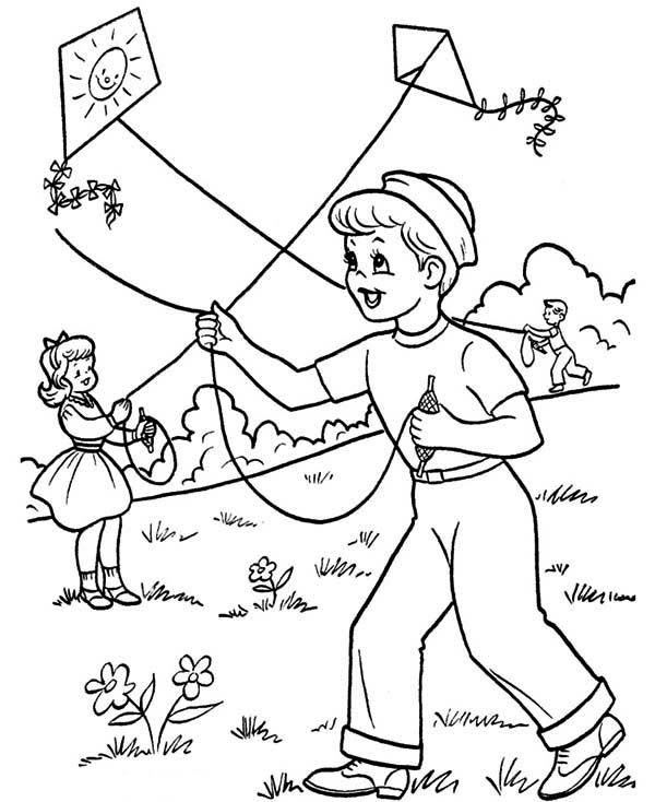 Kids Playing Kite on Spring Time Coloring Page Barangan untuk
