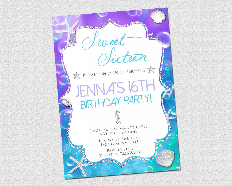 Sweet 16 Birthday Invitation - Under The Sea Silver Glitter Seahorse ...