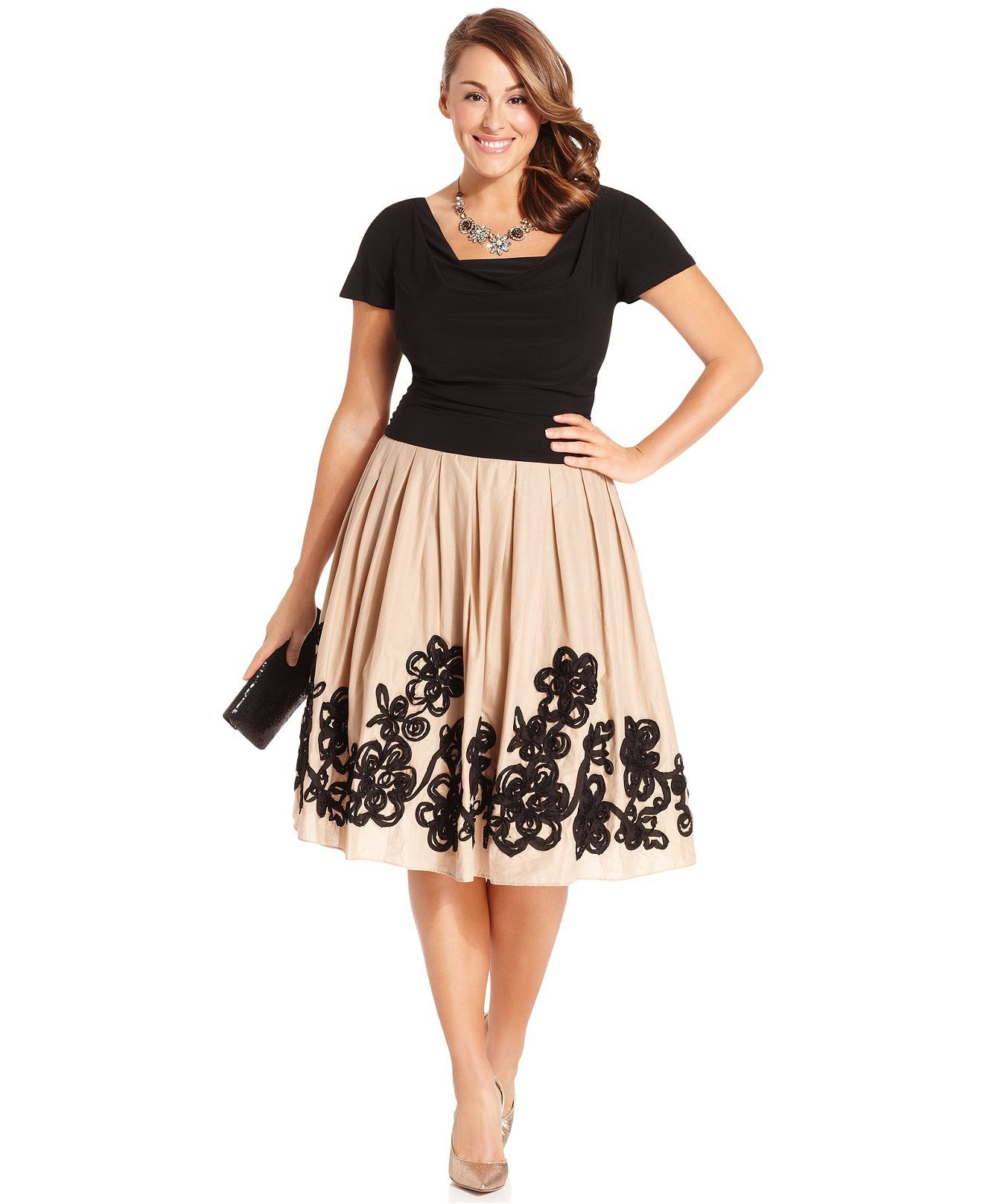 SL Fashions Plus Size Dress, Short-Sleeve Cowl-Neck Full-Skirt - Plus Size Dresses - Plus Sizes - Macy's