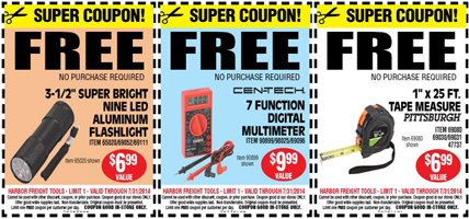 Harbor Freight Coupons FREE Flashlight, Multimeter and