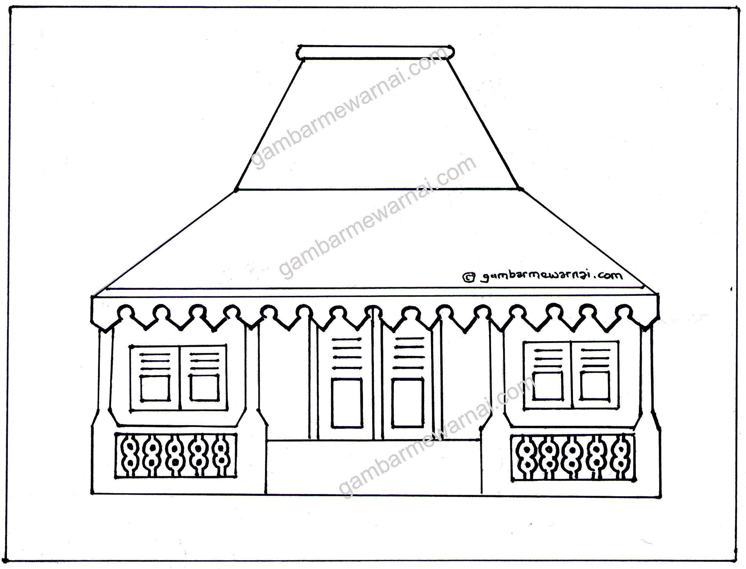 Gambar Mewarnai Rumah Adat Jawa Barat