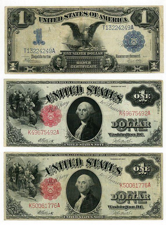 U S  Paper Money Currency Three 1 00 Bills 1899 Silver