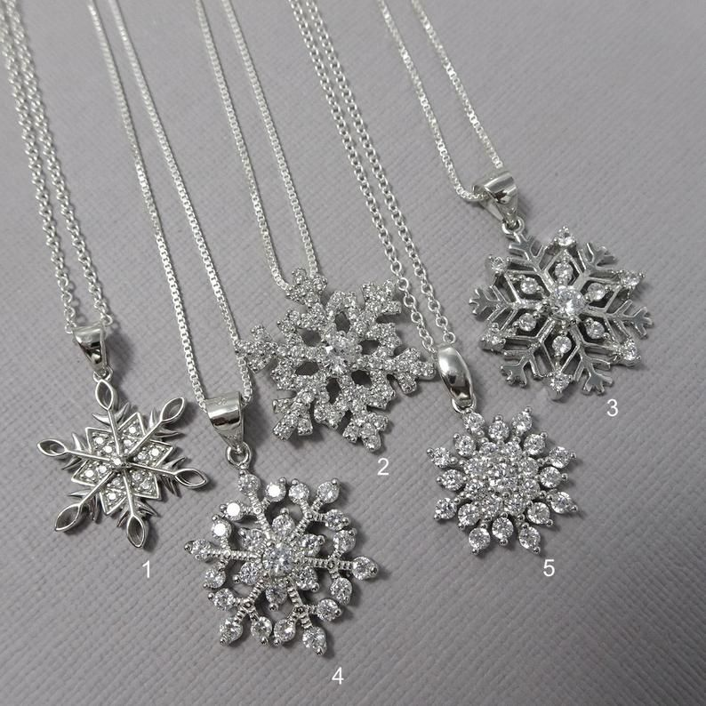 Photo of Snowflake Necklace, Sterling Silver Snowflake Necklace, Christmas Gift, Christmas Necklace, Christmas Jewelry, Gift for Her, Girlfriend Gift