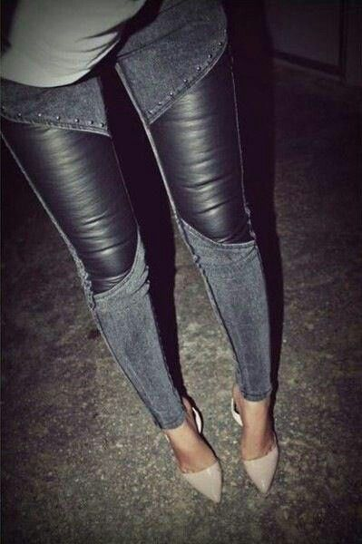 Leather panel skinny jeans
