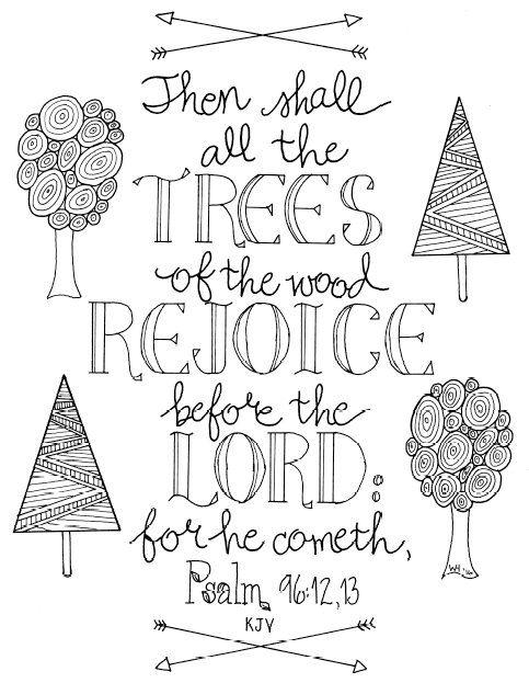 kjv bible verse coloring pages | Psalm 96:12,13 KJV Bible Verse Coloring Page | Scripture ...