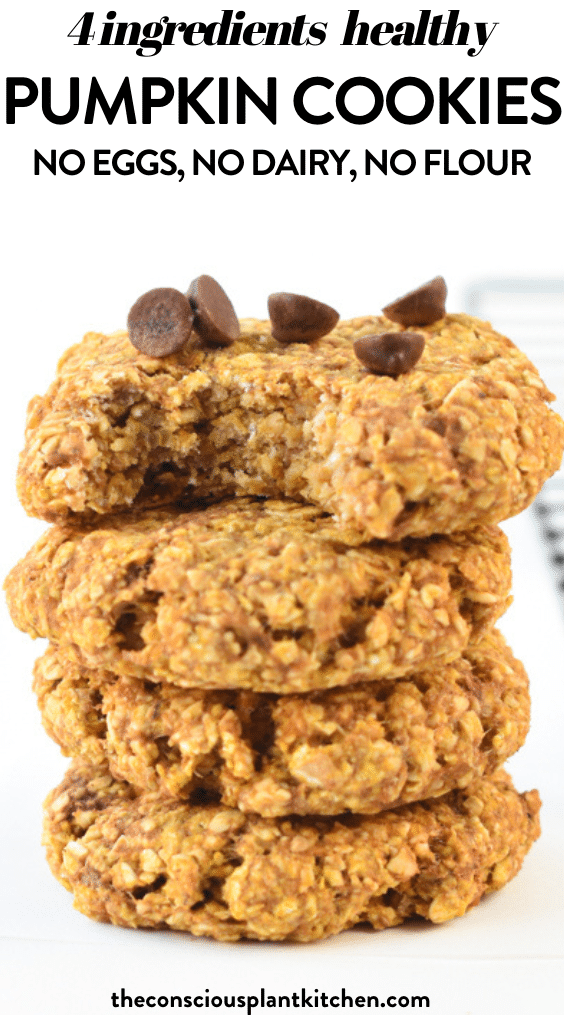 An Easy Healthy Pumpkin Oatmeal Cookies With Chocolate Chips Vegan Dairy Free No Flour Perfect V In 2020 Vegan Cookies Vegan Pumpkin Cookies Pumpkin Cookies Healthy