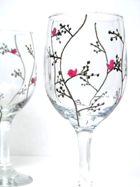 Hand painted wine glasses modern black leaf design wine for Hand designed wine glasses