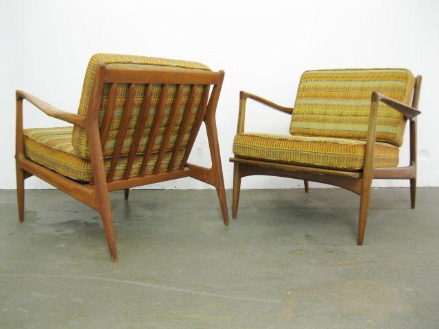 Captivating Pair Of Danish Modern Lounge Chairs By Ib Kofod Larsen