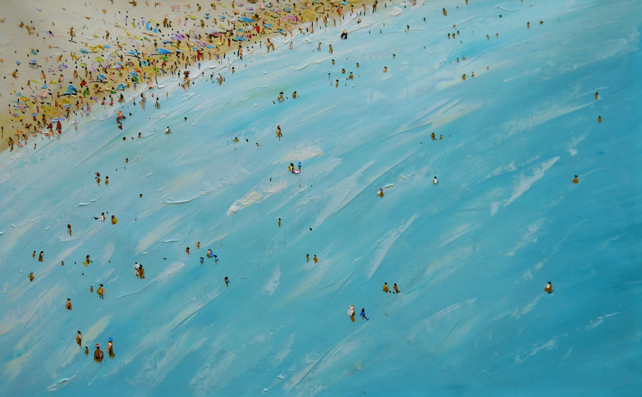 Large Beach Painting Original Art Oil Painting On Canvas Turquoise