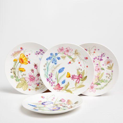 Wildflower Dessert Plate (Set of 4) | ZARA HOME Canada & Wildflower Dessert Plate (Set of 4) | ZARA HOME Canada | gift DIY ...