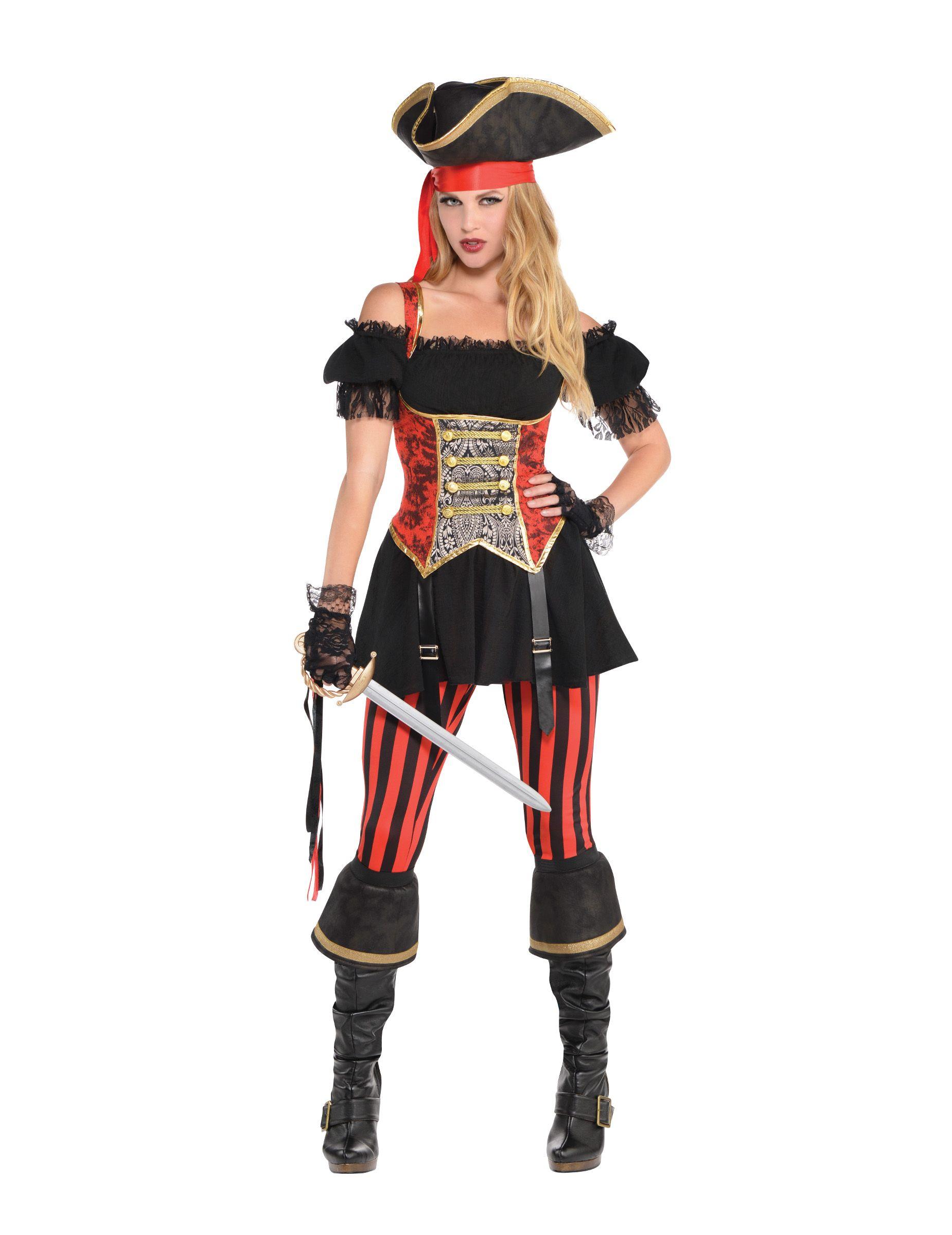 Donna Costume Pirata Lady Pirati vestito marrone