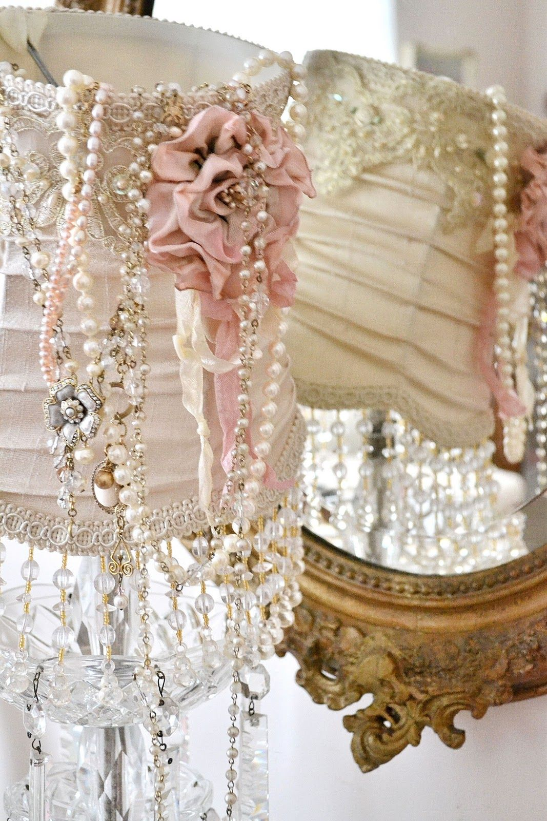 shabby chic lampshades grab your vintage jewelry buttons ribbons and lace and start gluing. Black Bedroom Furniture Sets. Home Design Ideas