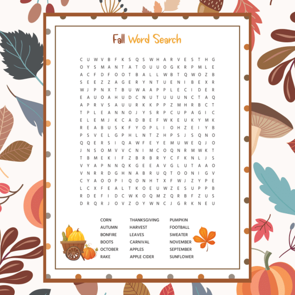 Free Printable Fall Word Search | Fall words, Fall word ...