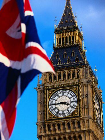 """The Union Jack Flag and Big Ben, London, England""=>"