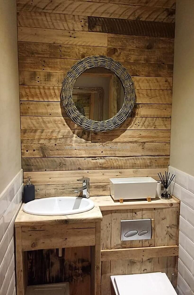 Pallet Sink Cabinet With Wall Art Bathroom Shower Design Tiny House Bathroom Pallet Bathroom