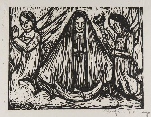 """""""Virgin of Guadaloupe"""", 1930, Rufino Tamayo, Mexican (1899-1991), woodcut on paper, 7 1/4 x 9 1/2 in. Museum purchase with funds from the Benefactors Fund, 1976. 1976.2369"""