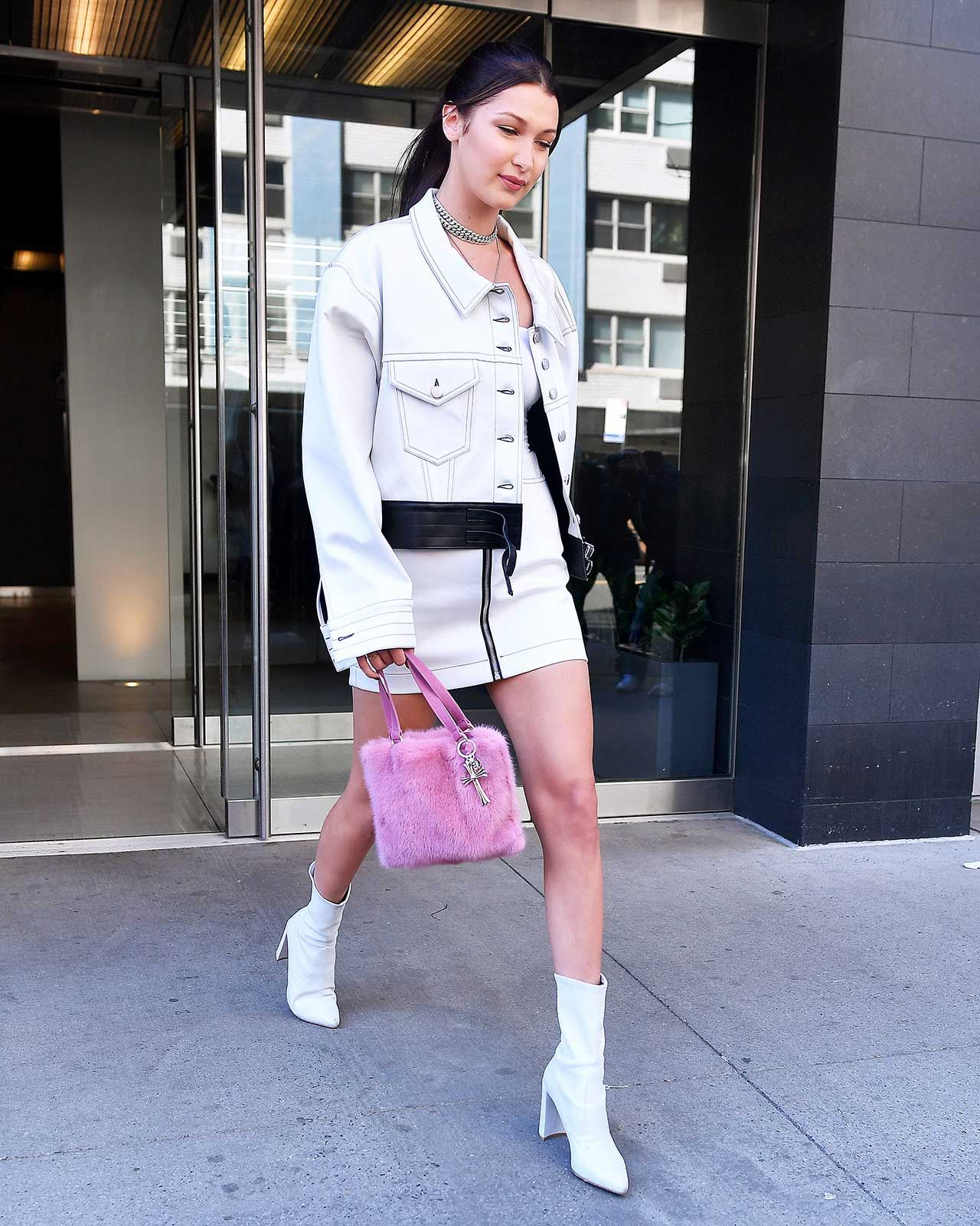 In An Alyx Denim Set And Stuart Weitzman Boots  In New York City, 2017