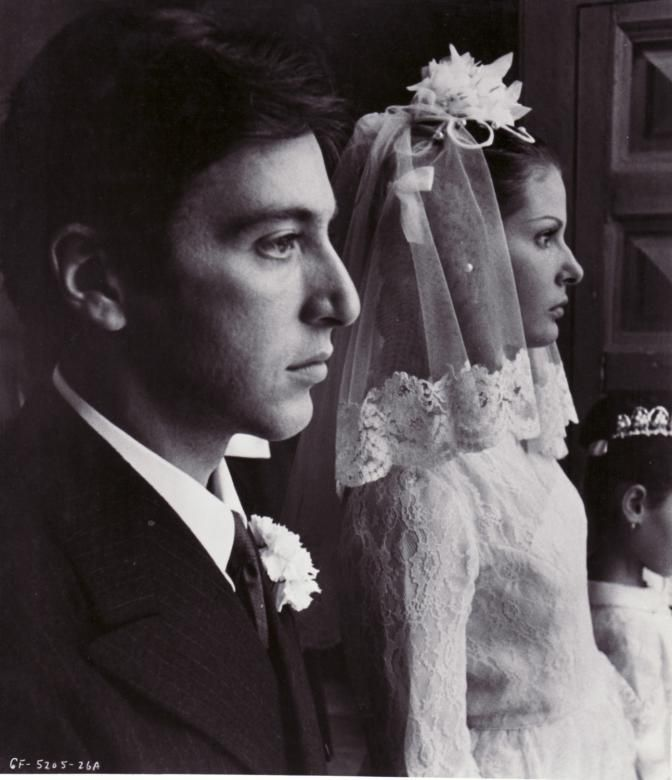 """Al Pacino (Michael Corleone) and Simonetta Stefanelli (Apollonia Vitelli) - The Godfather directed by Francis Ford Coppola (1972) - Novel """"The Godfather"""" by Mario Puzzo"""