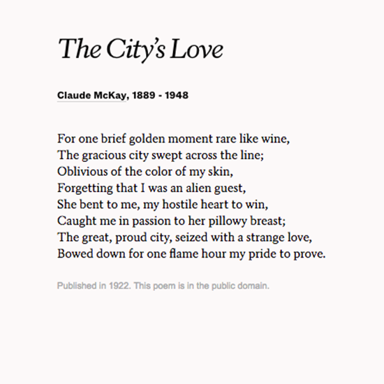 """The City's Love"" By Claude McKay. Read More Poems At"
