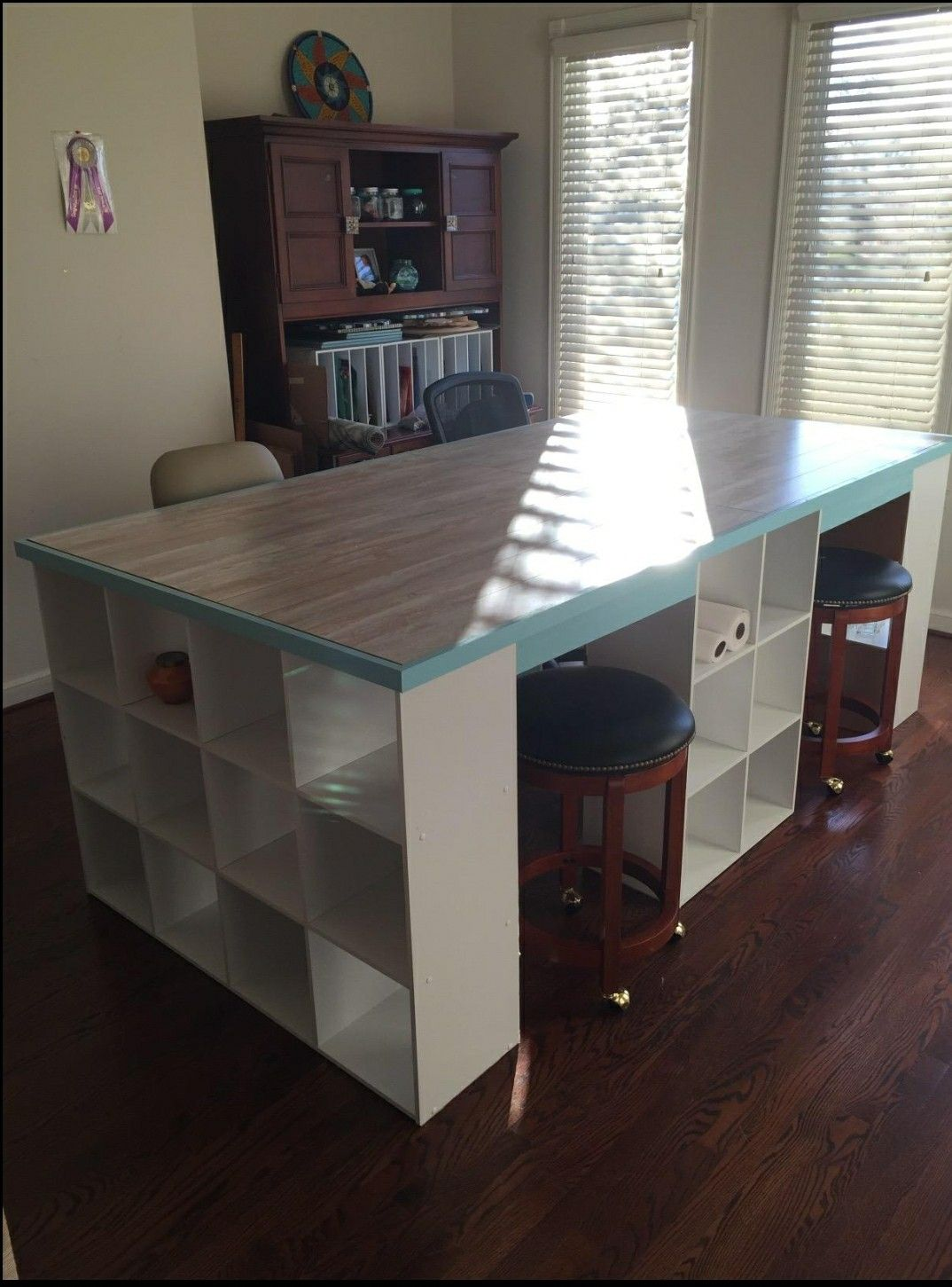 Cube Storage Made Into A Table Great For A Craft Room Or Play Room Diy Desk Plans Cube Desk Craft Room Design