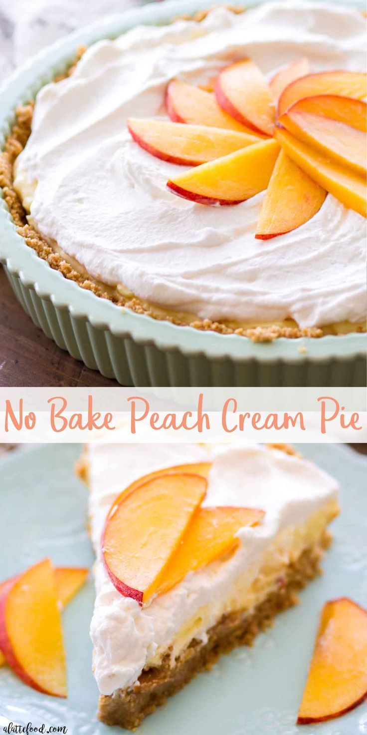 This No Bake Peach Cream Pie is made with fresh peaches, a no bake graham cracker crust, and an easy cream pie filling. This homemade peach pie makes the best easy no bake summer dessert recipe! This no bake peach pie is my new favorite summer dessert! I love no bake cream pie recipes, and this peaches and cream pie recipe is no exception! peach cream pie, no bake peach pie, peach pie with graham cracker crust #peachcobblercheesecake