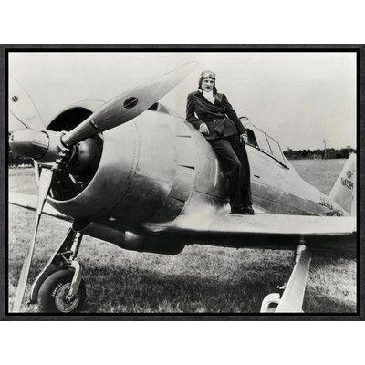 Global Gallery \'Female Pilot Standing on Airplane\' Framed ...