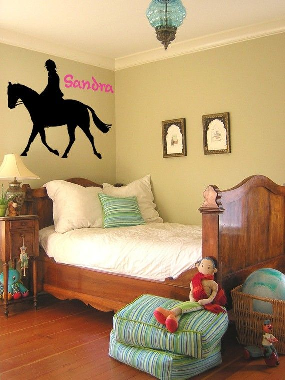 Vinyl Wall Decal Horse Sticker Horse Decal Personalized 28 X 27 Inches Via Etsy Autocollants De Mur Deco Chambre Idee Deco