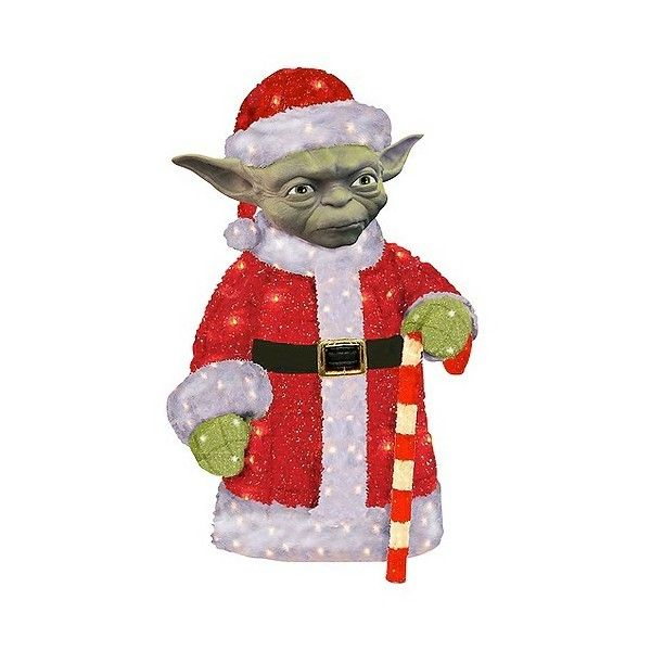 """"" Santa Yoda 3D Tinsel Lawn Décor, Multicolored ($125) ❤ liked on Polyvore featuring home, home decor, holiday decorations, multicolored, yoda statue, multi colored christmas lights, christmas lights, colored christmas tree lights and colored christmas lights"