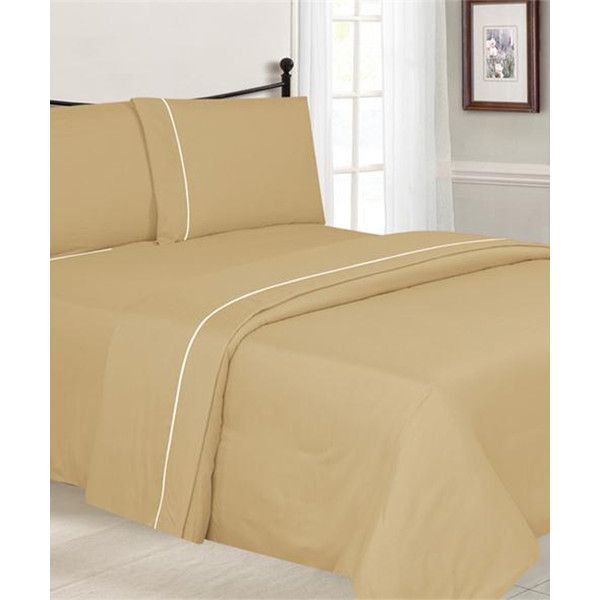 Simple Elegance Gold Piped Microfiber Sheet Set 19 Liked On Polyvore Featuring Home Bed Bath Bedding Be Sheet Sets Microfiber Sheets Solid Sheet Sets