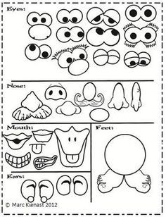 Mr Potato Head Template For The Cups Audrey Activities