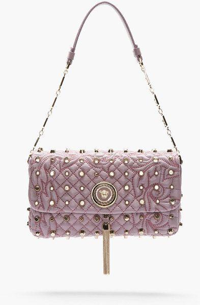 a8c1fd3ab6 Versace Pink Lavender Leather Floral Quilted Studded Shoulder Bag ...