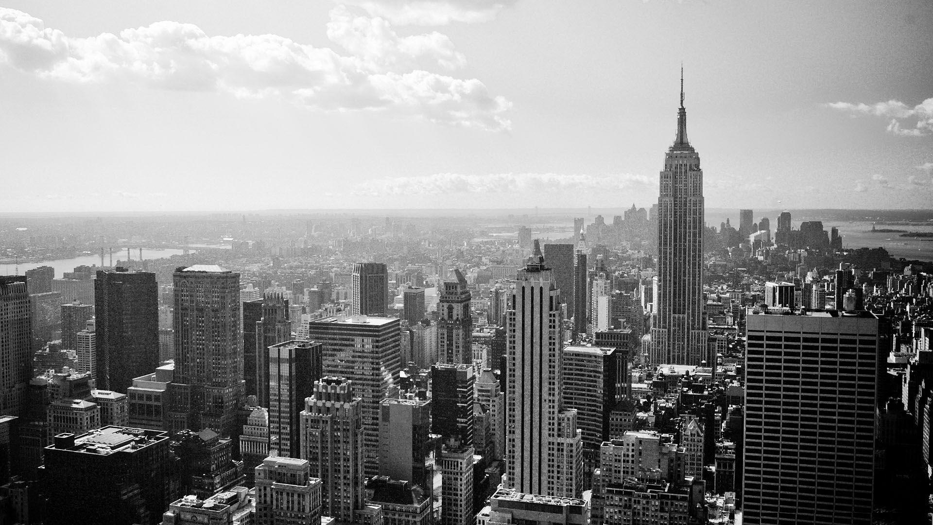 New York City Wallpaper Hd Images Skajlajn Cherno Beloe Manhetten