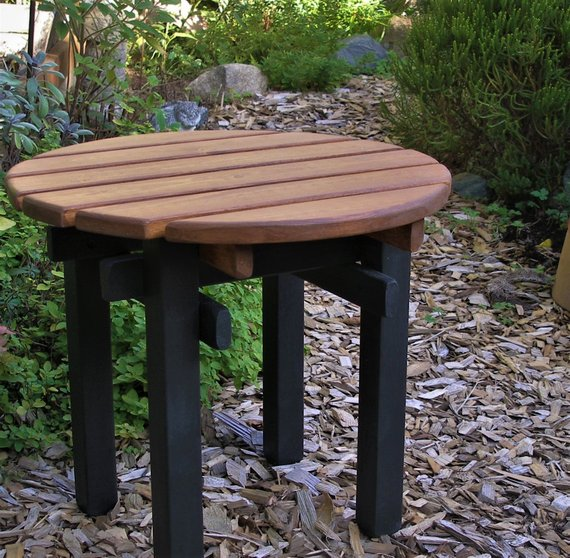 Two Color Outdoor Round Top Side Tables Garden Deck Patio