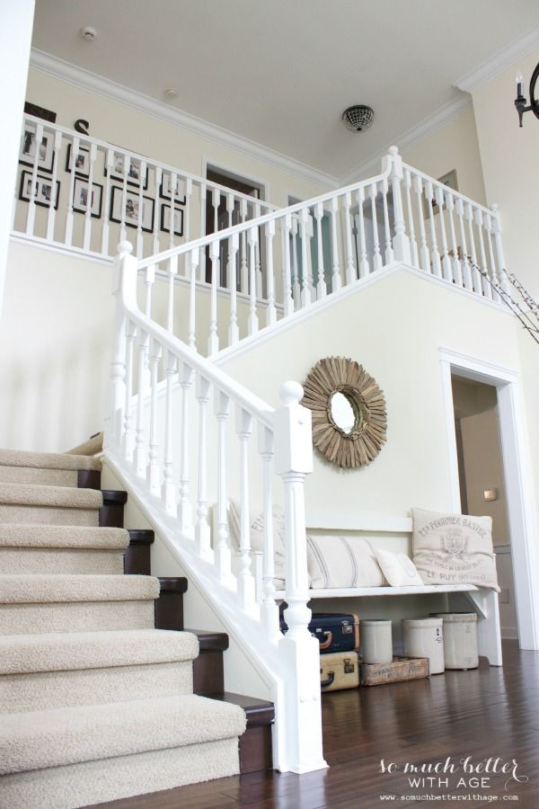 Best Canadian Bloggers Home Tour White Stairs Staircase 400 x 300