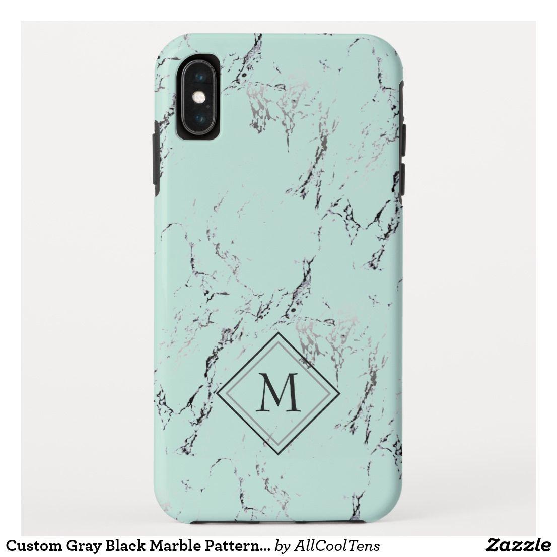 Custom Gray Black Marble Pattern On Mint Green CaseMate