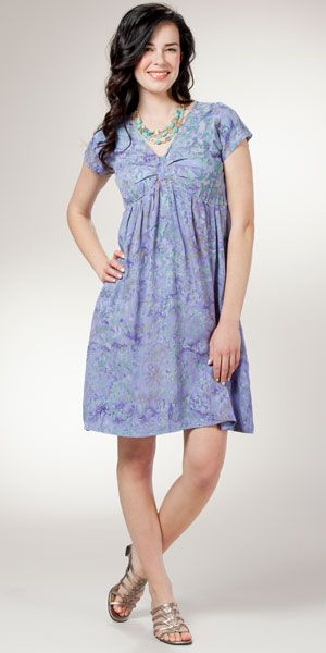 Rayon Casual Dresses Maggie B Short Sleeve Purple Batik Dresses Batik Dress Casual Dresses