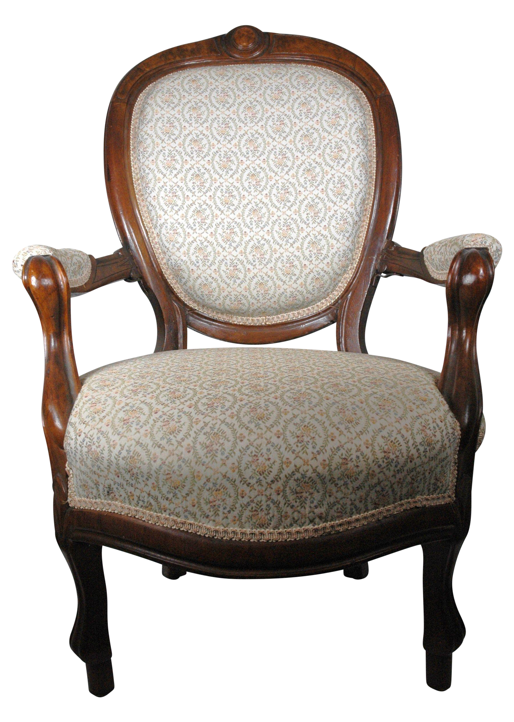 A Gorgeous Balloon Back Armchair, That Was Recently Reupholstered In A  Sturdy Printed Tapestry Fabric