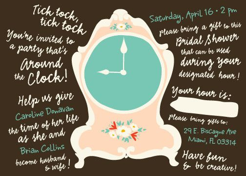 Around the Clock Bridal Shower Invitation Alexis gets married