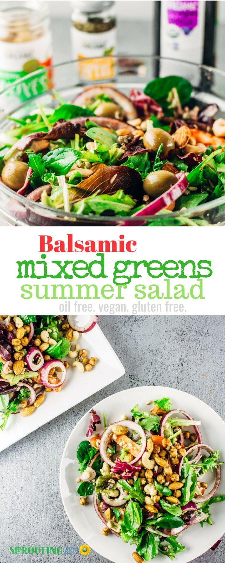 Balsamic Mixed Greens Summer Salad Oil Free