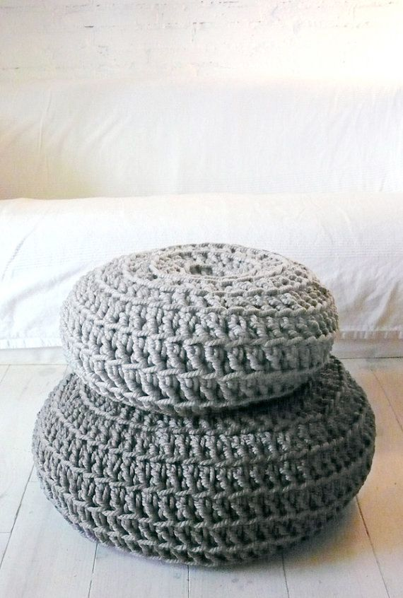 Floor Cushion Crochet - Thick Cotton -  Silver Gray