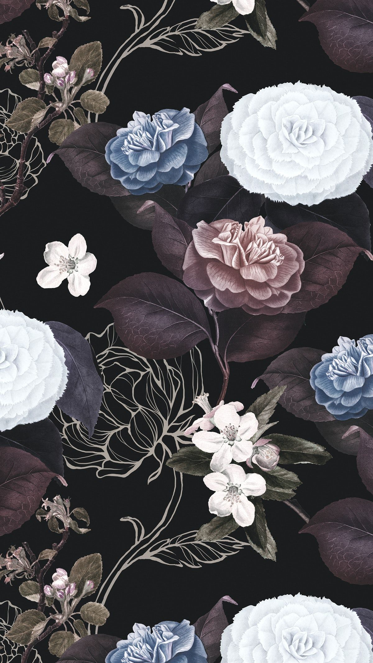 Download Premium Illustration Of Hand Drawn Flower Pattern On A Black Flowers Black Background Flower Background Wallpaper Black Flowers Wallpaper Coolest flower android wallpaper