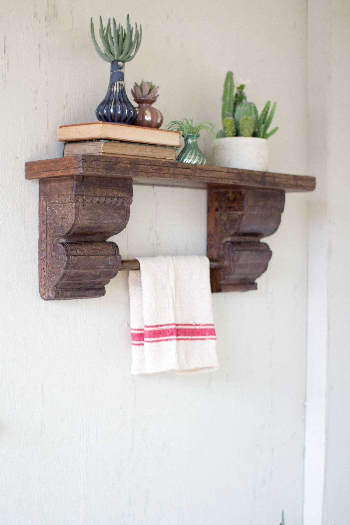 Recycled Wooden Shelf With Antique Brackets