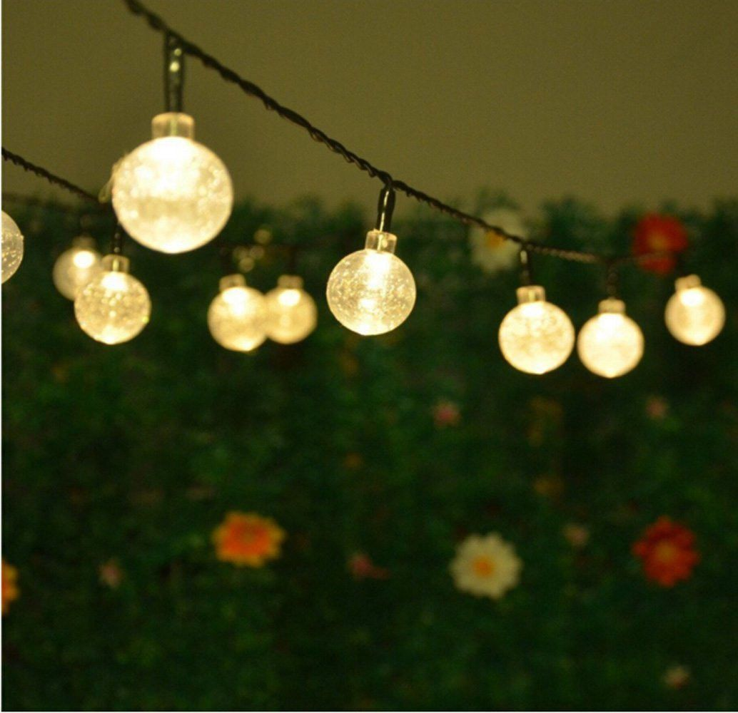 30 Led Warm White Crystal Ball Globe Lights Solar Outdoor String Light Patio Uk Ebay