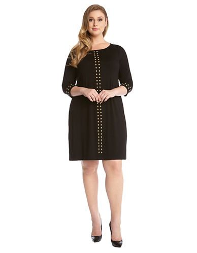 Karen Kane Plus Size Fashion Black And Gold Studded Shift Dress