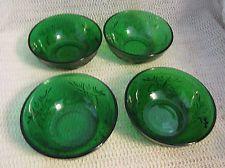"ANCHOR HOCKING FOREST GREEN SANDWICH GLASS...4 - 4.5"" BERRY BOWLS"