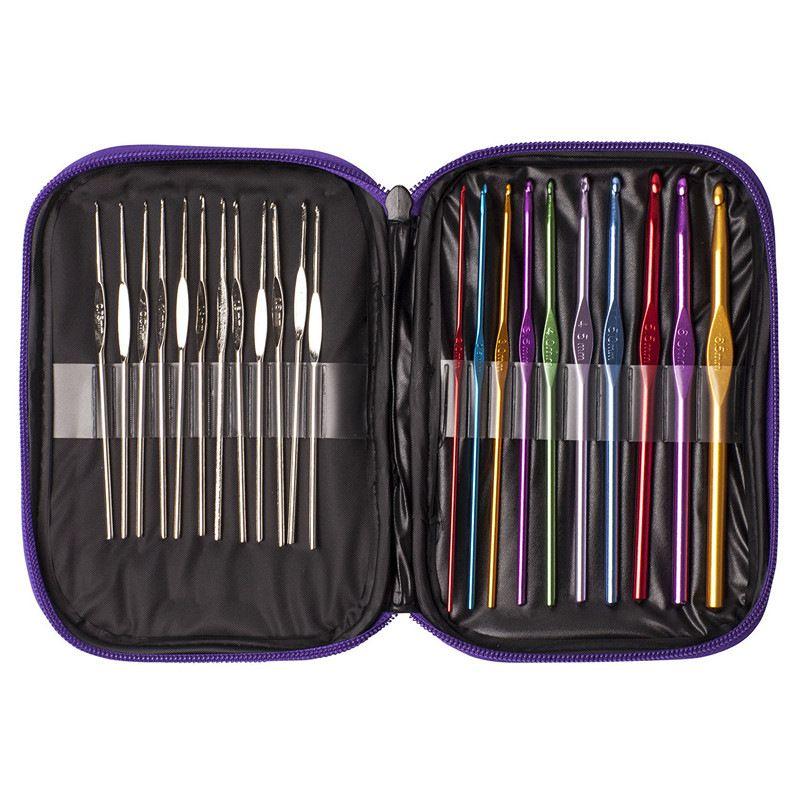 1set 22Pcs Multicolour Aluminum Crochet Hook Knitting Kit Needles Handle Knit…