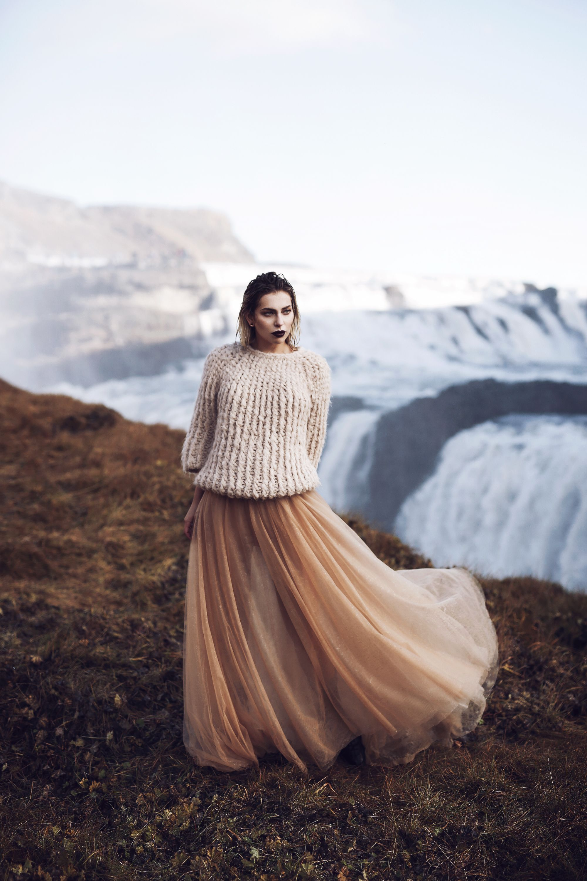 Waterfall in Iceland  Editorial Fashion Shooting for mybestbrands  style feminine