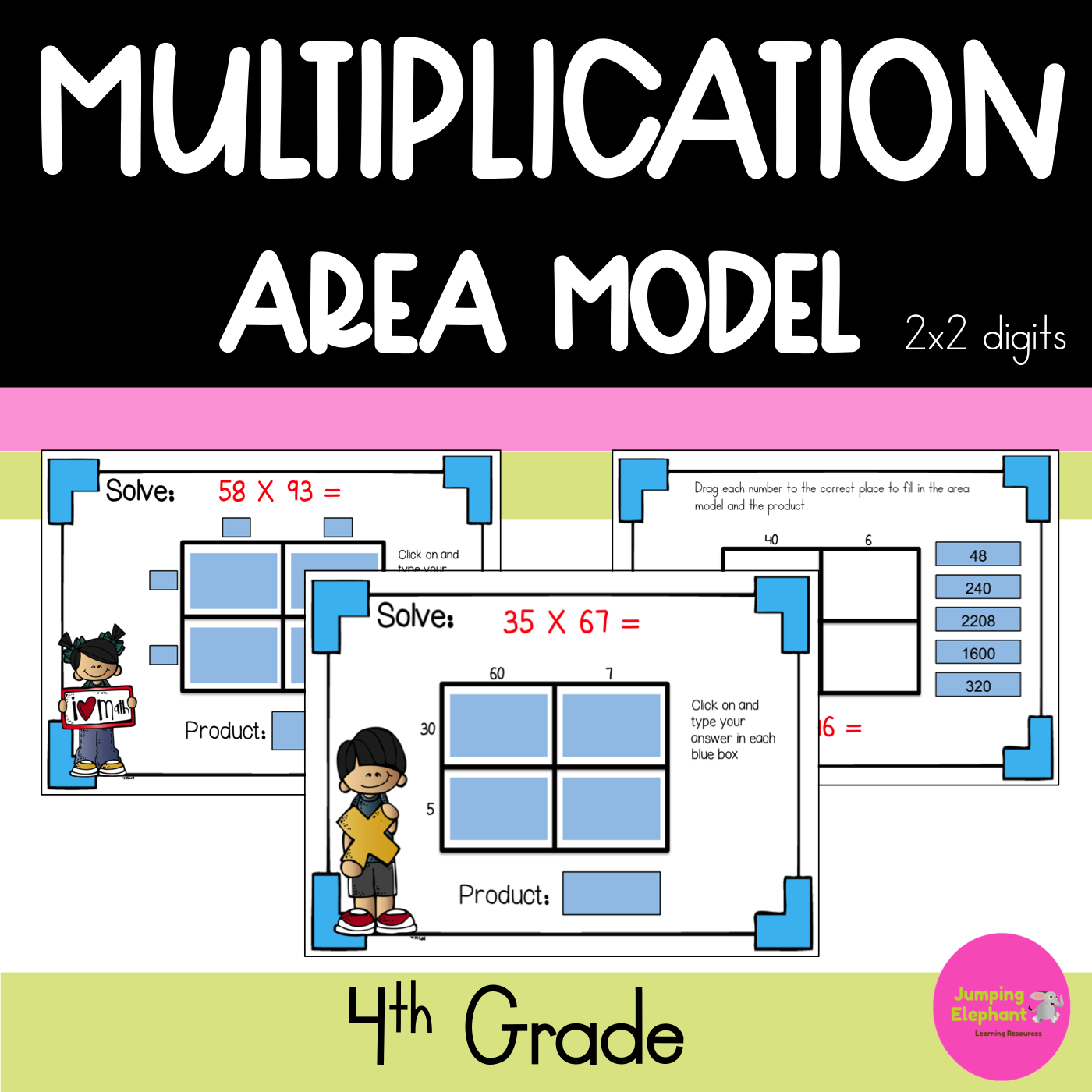 Double Digit Multiplication Area Model Distance Learning
