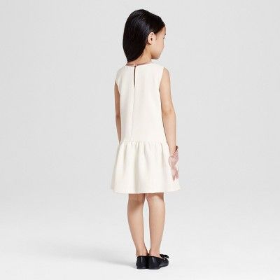 Toddler Girls' White Flower Pocket Drop Waist Dress 3T - Victoria Beckham for Target